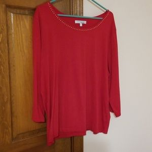 Red 3/4 sleeve Company by Ellen Tracy top, jeweled